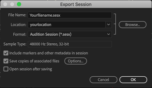 Audio Export: AAF (Premiere and other NLEs) vs Session (Audition)